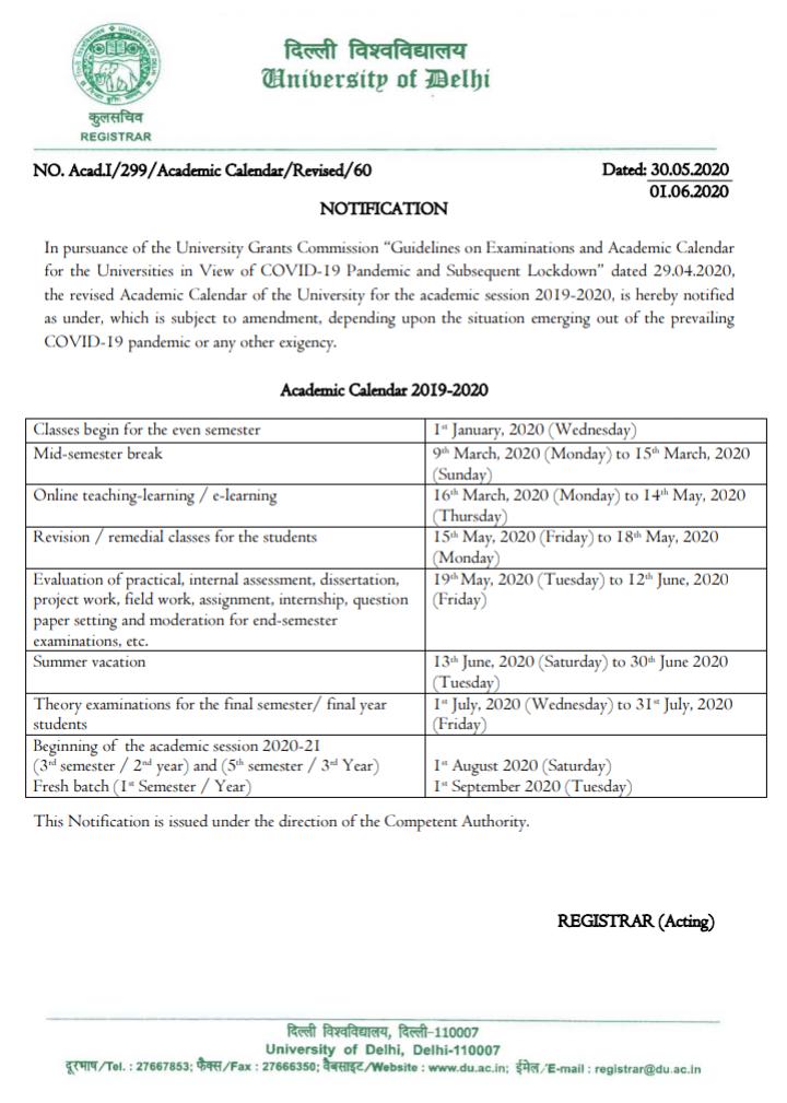 Delhi University released revised academic calendar, check details here